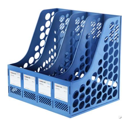 齐心(COMIX) B2174 四联文件筐 文件栏  文件框 资料架 蓝色
